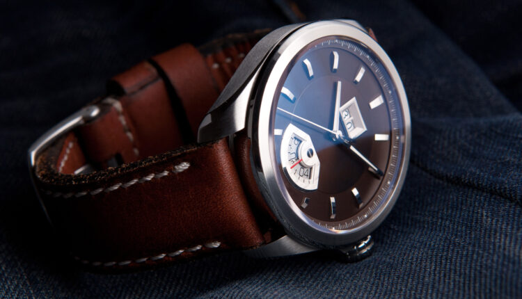 Wrist watch with brown dial on brown leather strap